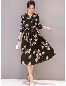 midi dress motif bunga D4465