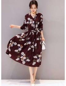 midi dress motif bunga D4466