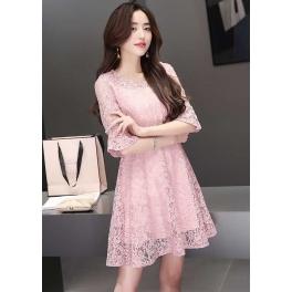dress brukat korea D4483