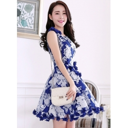 Dress Pesta Korea Motif Bunga D2332 Moro Fashion