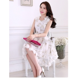 Dress Pesta Korea Motif Bunga D2333 Moro Fashion