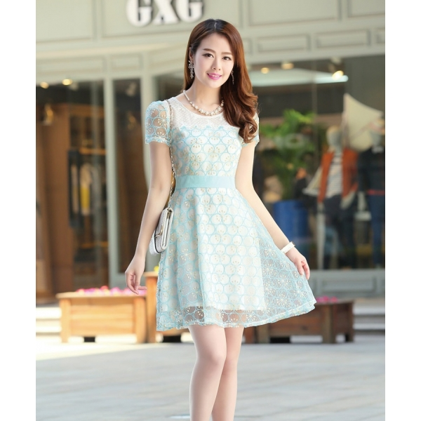 Dress Wanita Model Korea Lengan Pendek D1044 Moro Fashion