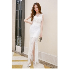 long dress pesta brukat D1064
