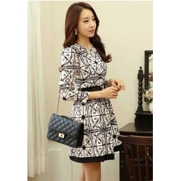Dress Lengan Panjang Corak Batik D1578 Moro Fashion