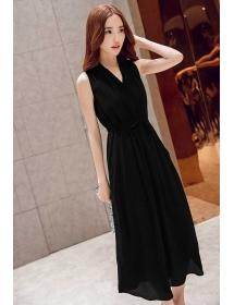 long dress v-neck D3244