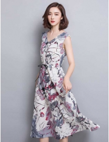 long dress v-neck D3246
