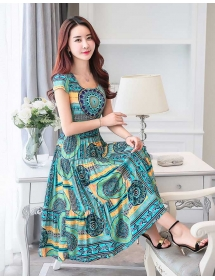 long dress motif batik D3285