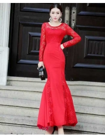 long dress brukat D3676