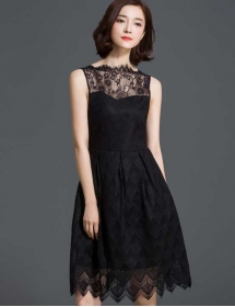 dress pesta brukat D3713