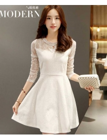 dress brukat lengan panjang D3835
