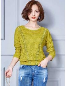 blouse brukat lengan panjang T3470