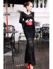 long dress brukat D3902
