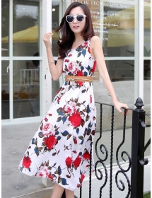 long dress motif bunga D3929