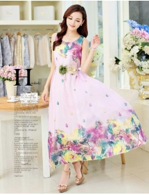 long dress chiffon D3943