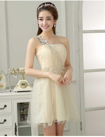 one shoulder party dress D3949