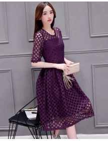 dress brukat korea D4087