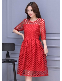 dress brukat korea D4091