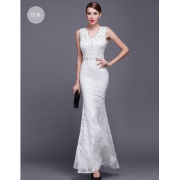 long dress brukat D4119