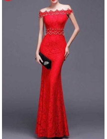 long dress brukat D4225