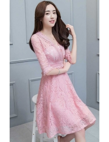 dress brukat korea D4275