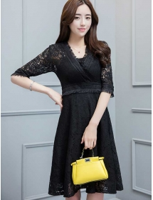 dress brukat korea D4277