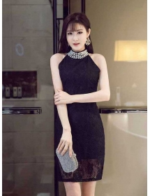 dress pesta brukat D4291