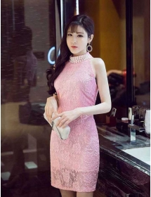 dress pesta brukat D4292