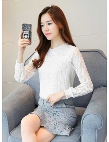 blouse brukat lengan panjang T3883