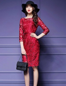 dress brukat korea D4417
