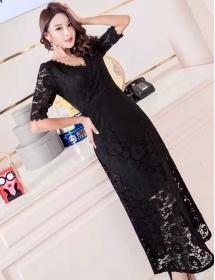 long dress brukat D4461